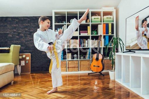 Taekwondo boy exercising at home in living room.