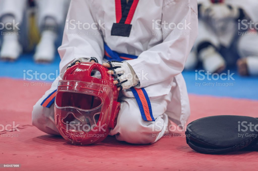 Taekwondo class stock photo
