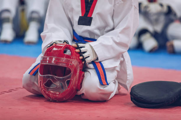Taekwondo class stock photo
