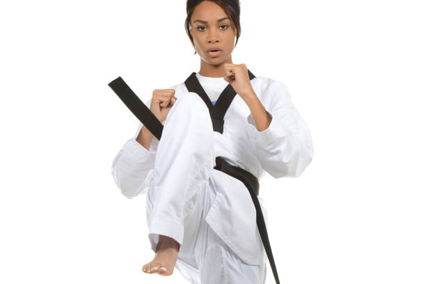 taekwondo focus - martial arts gerville stock photos and pictures