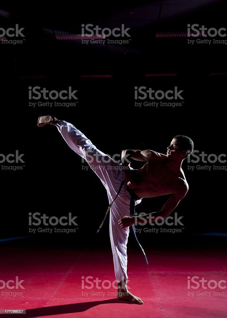 Taekwondo side kick stock photo
