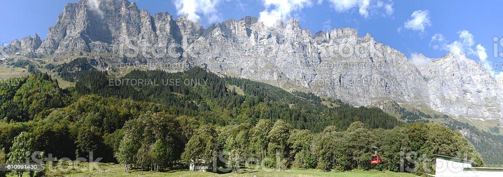 Taellibahn cableway who takes to Gadmen Dolomites stock photo