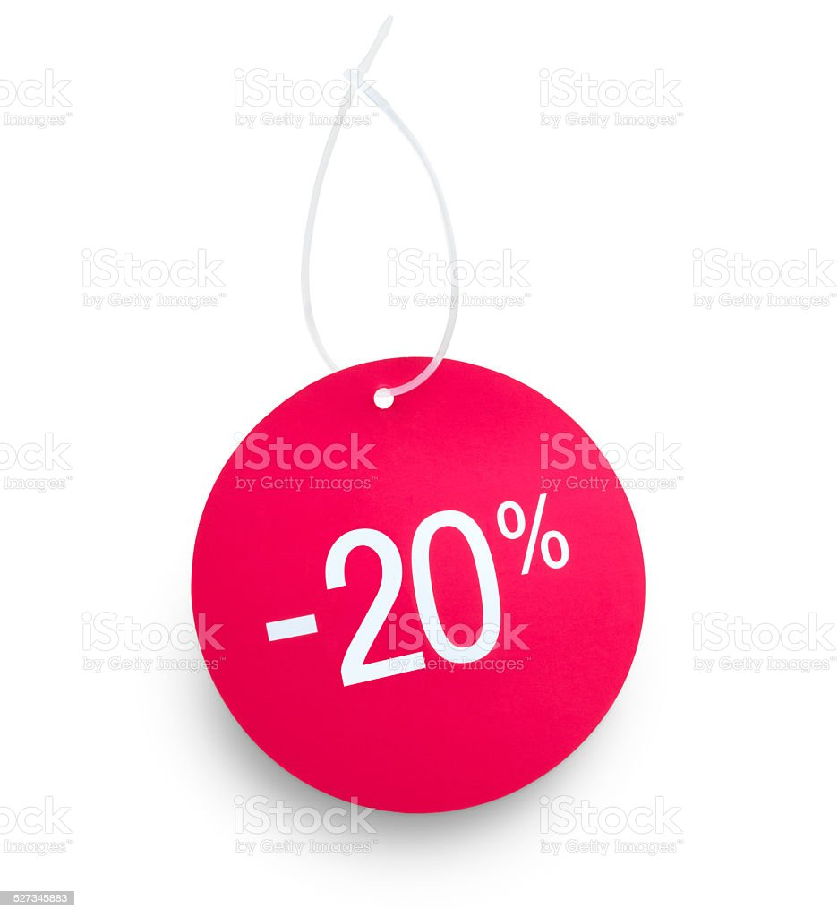 Tag 20 % off stock photo