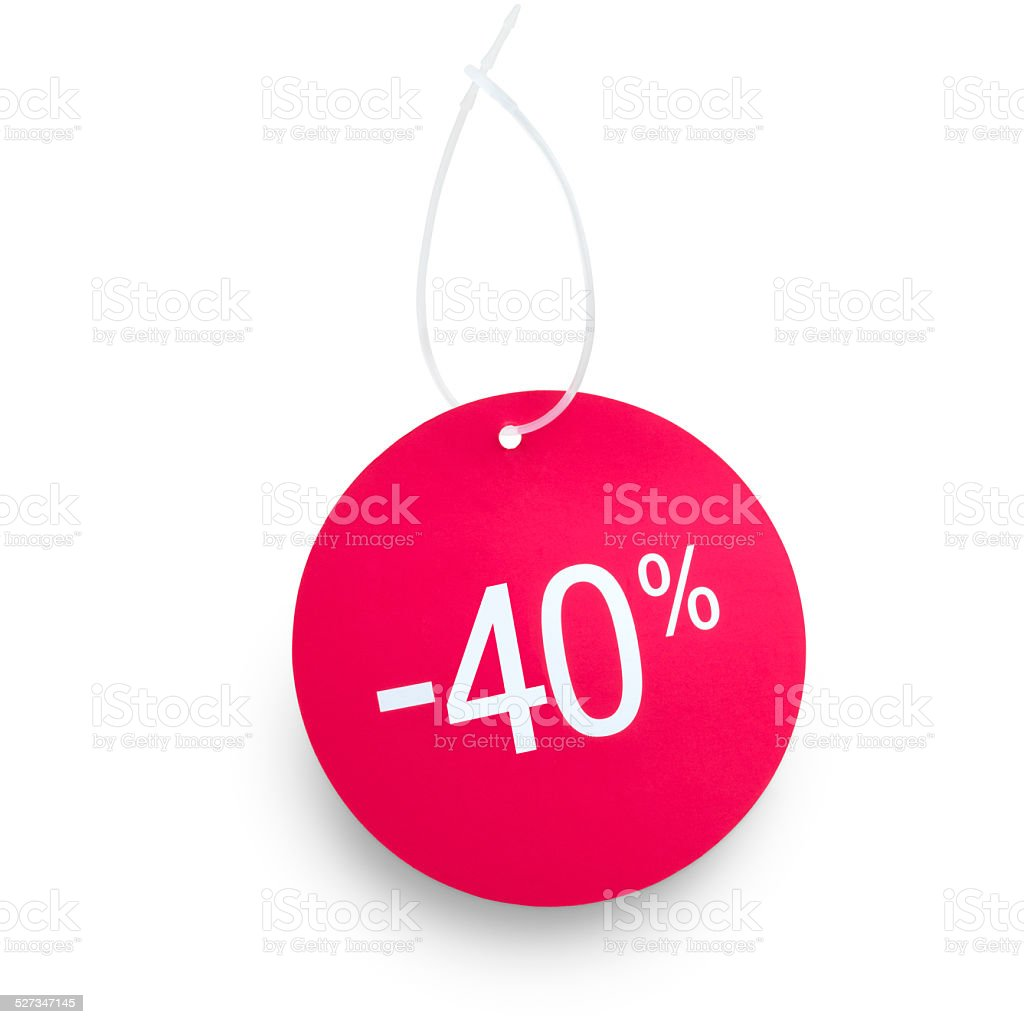 Tag 40 % off stock photo