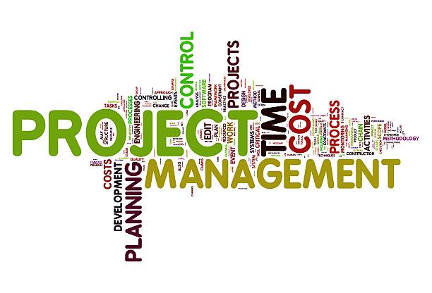 Tag cloud about project management and development stock photo
