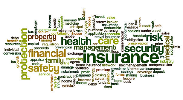 Tag cloud containing words related to insurance stock photo