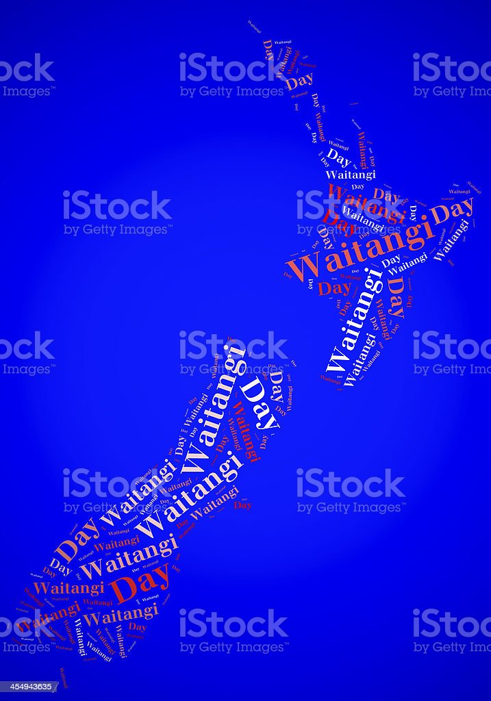 Tag cloud Waitangi Day related in shape of New Zealand stock photo