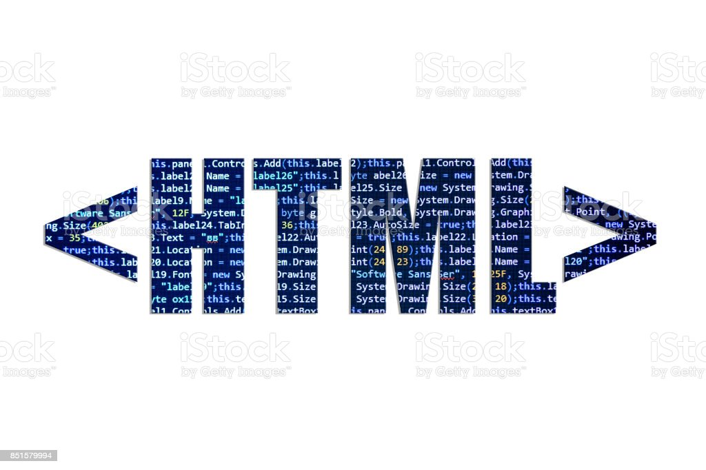HTML tag concept on a white background stock photo