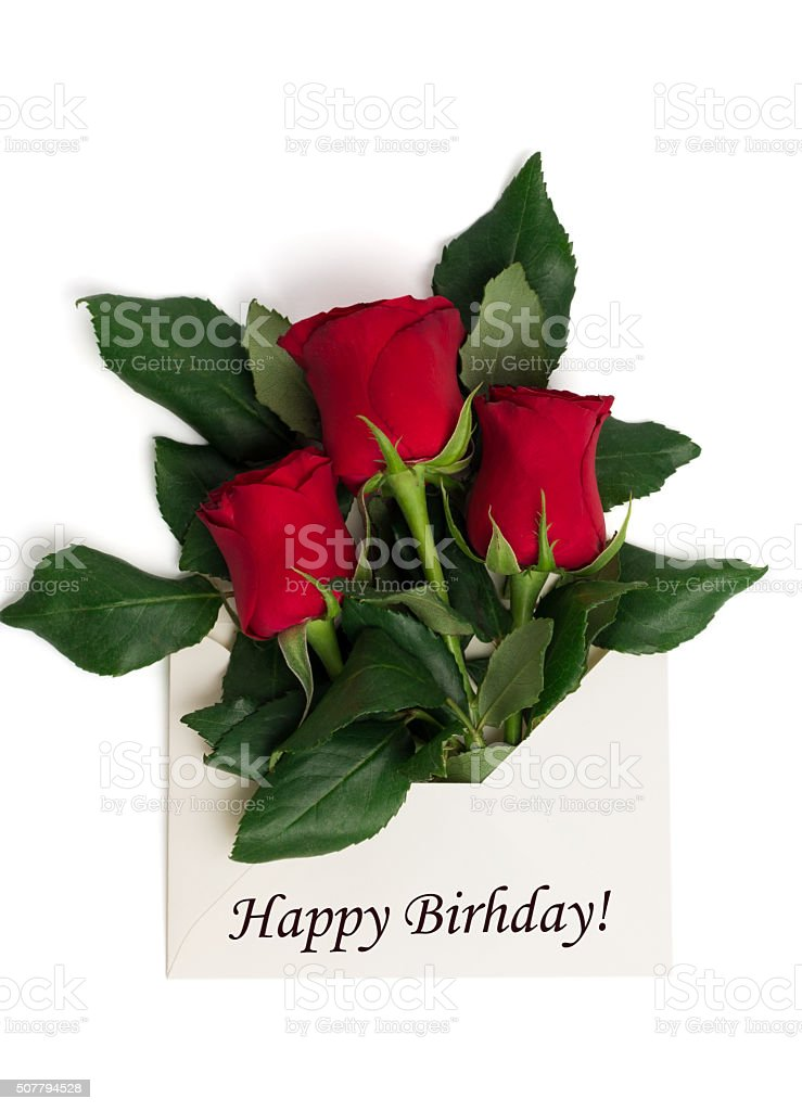 Prodotto Tag Buon Compleanno Con Bouquet Di Rose Rosse In Una Busta