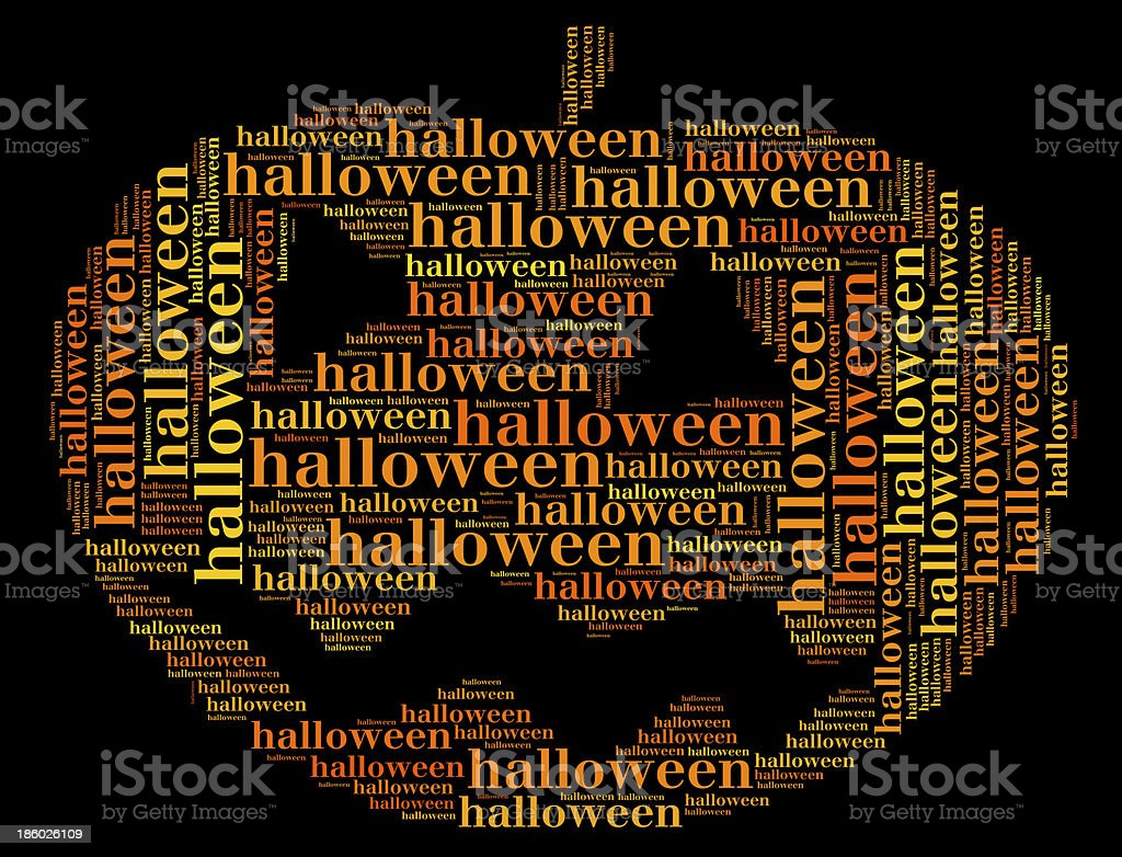 Tag or word cloud halloween related in shape of pumpkin royalty-free stock photo