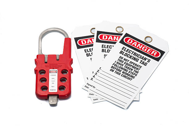 Tag Out Danger label with hasp Tag Out Danger label with hasp on white background lockout stock pictures, royalty-free photos & images
