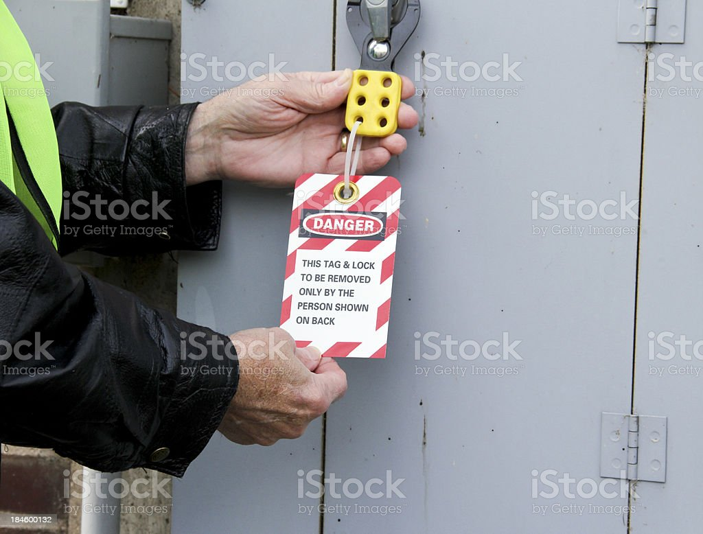 tag out of service sign stock photo