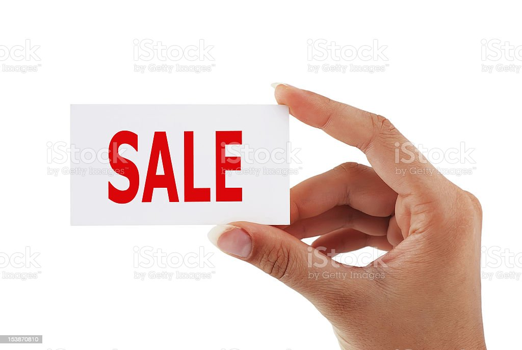 tag sale in hand royalty-free stock photo