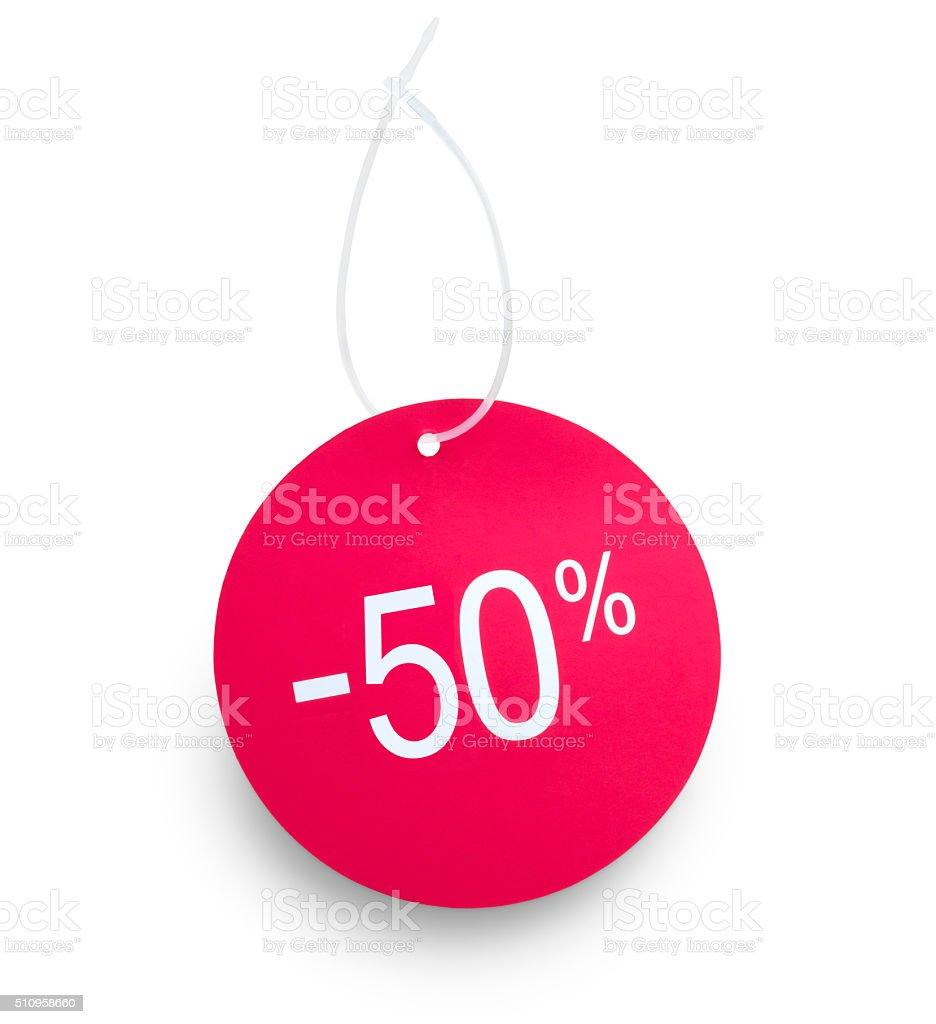 Etiqueta mostra 50% de desconto - foto de acervo