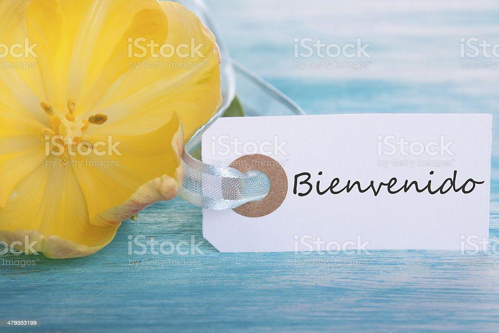 Tag with Bienvenido stock photo