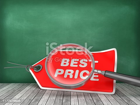 BEST PRICE Tag with Magnifying Glass on Chalkboard Background - 3D Rendering