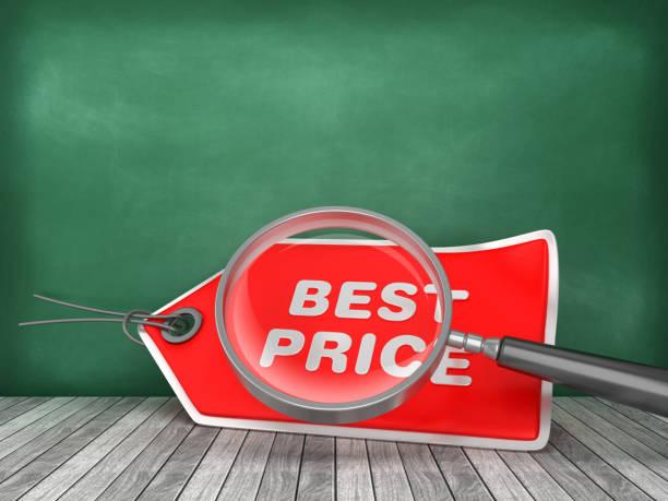 BEST PRICE Tag mit Lupe auf Tafel Hintergrund - 3D Rendering – Foto
