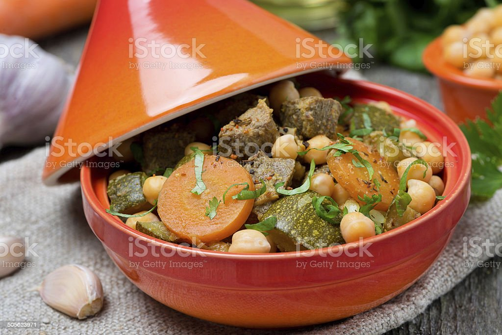 tagine with beef, chickpeas and vegetables, close-up stock photo