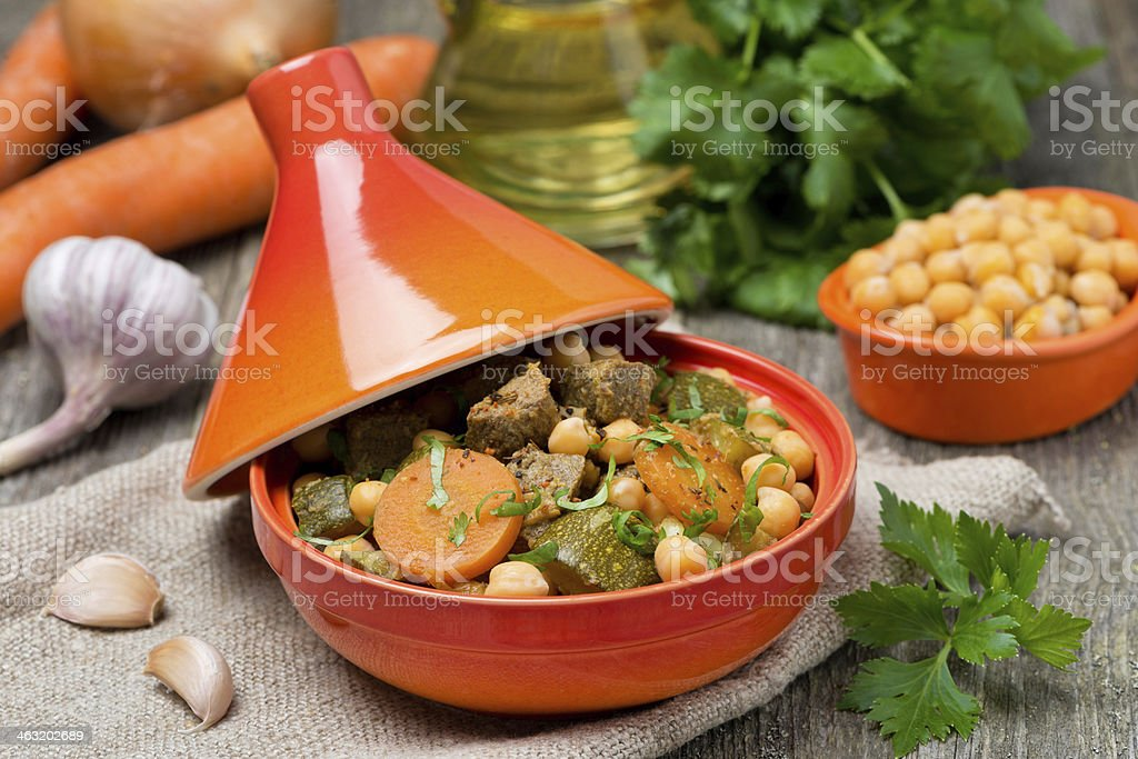 tagine with beef, chickpeas and vegetables stock photo