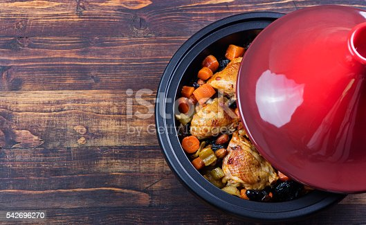 istock Tagine with cooked chicken and vegetables.Traditional moroccan cuisine 542696270