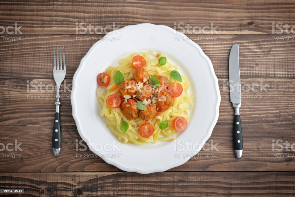 Tagliatelle pasta with meatballs royalty-free stock photo