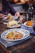 Tagliatelle Pasta with Vegan Bolognese and Bella Lodi Cheese