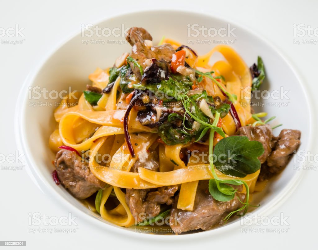 tagliatelle with beef stock photo
