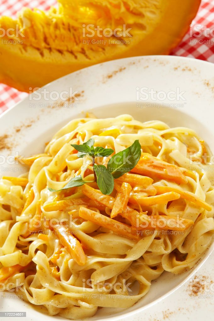 Tagliatelle with pumpkin royalty-free stock photo