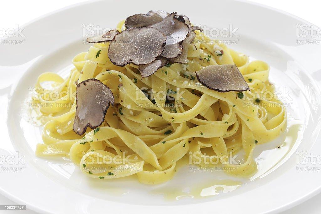 tagliatelle with truffles stock photo