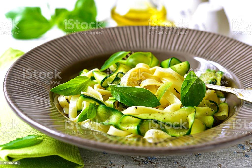 Tagliatelle with zuchhini. stock photo
