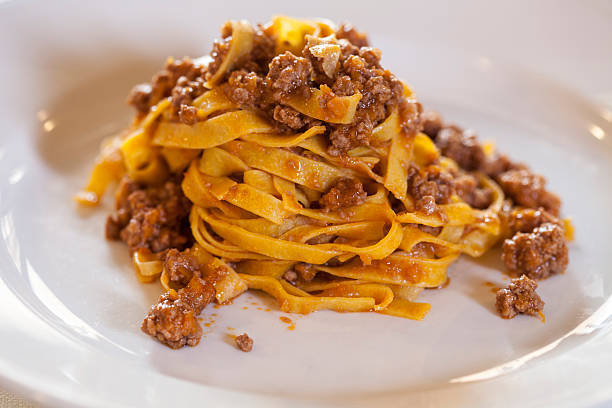 Tagliatelle/fettuccine with meat sauce, ragout stock photo