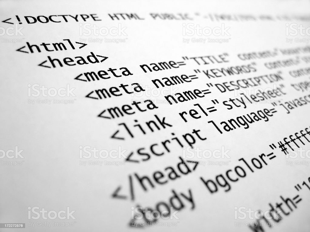 HTML tags royalty-free stock photo