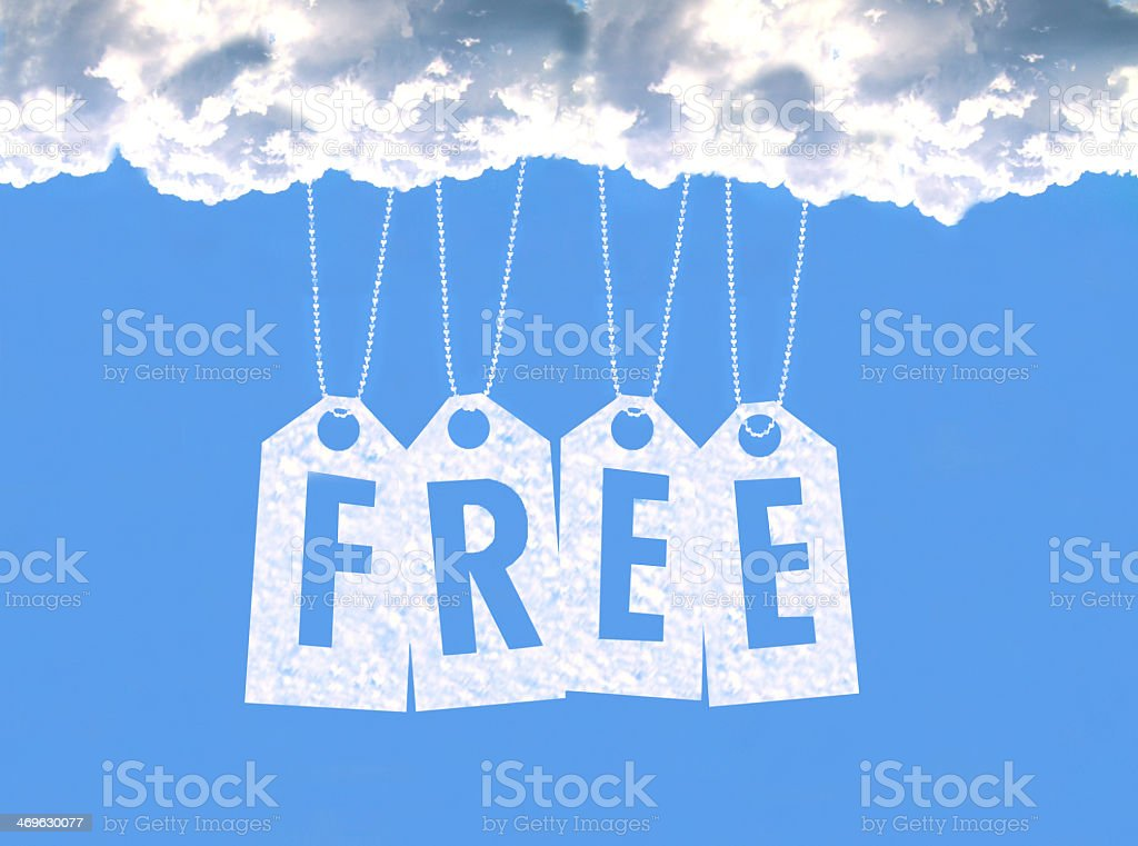 Tags with the word free hanging from the clouds stock photo
