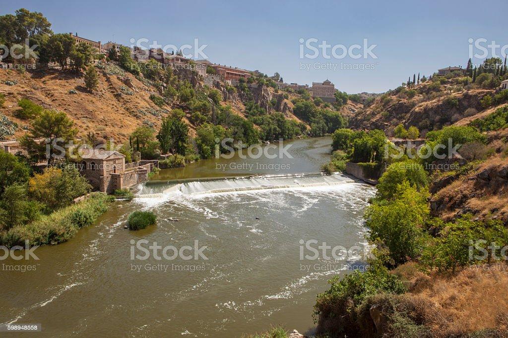 Tagus river crossing Toledo City, Spain stock photo