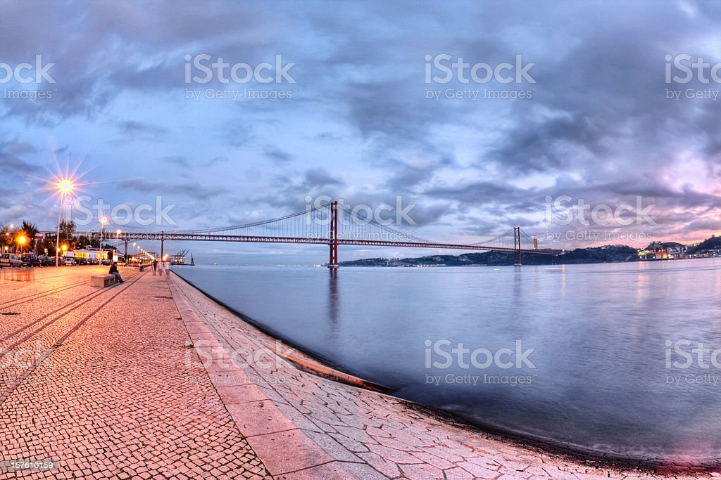 Tagus River in Lisbon at Sunset stock photo
