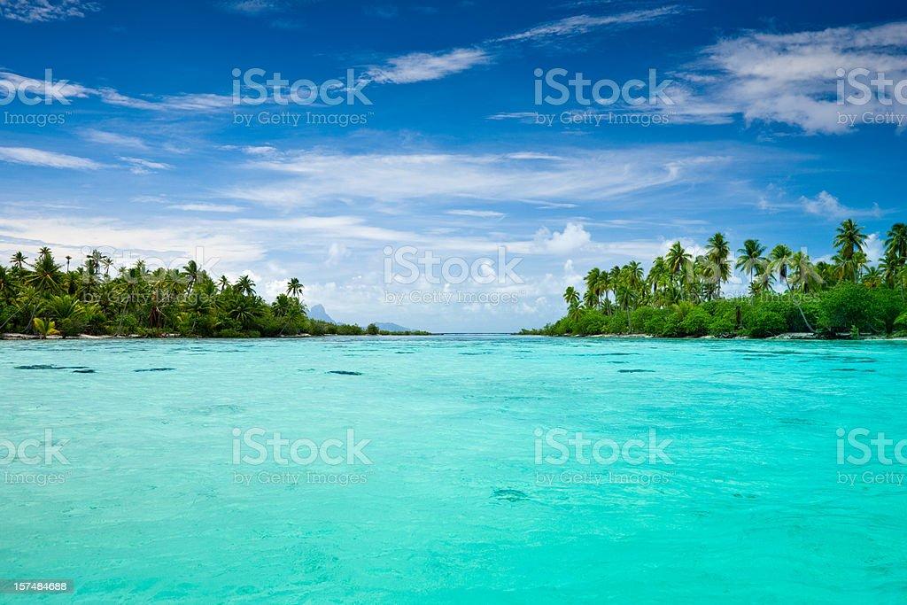 Taha'a Island Exotic Lagoon South Pacific stock photo