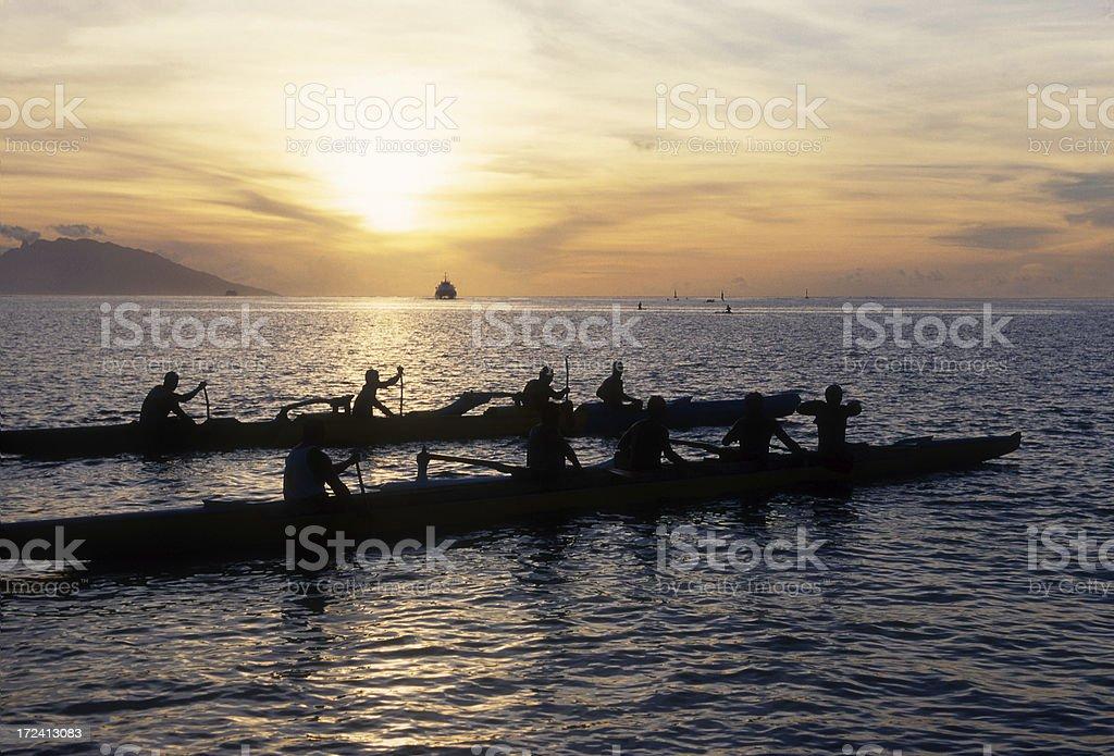 Tahiti Paddlers in Papeete stock photo