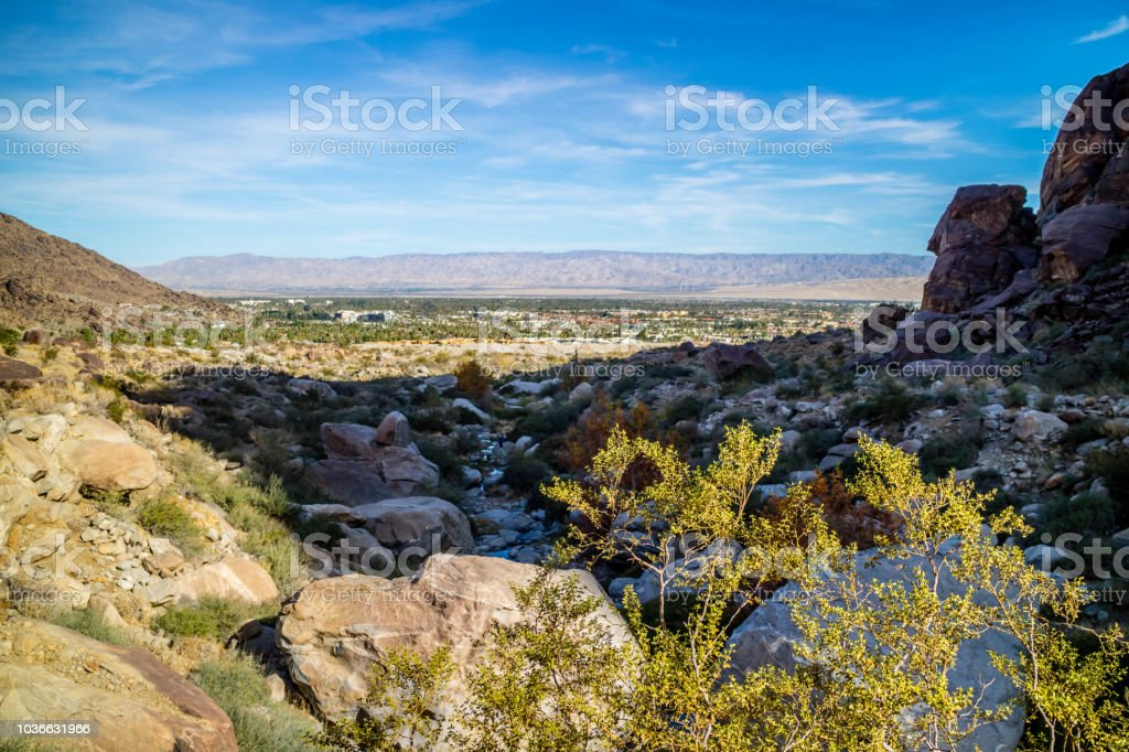 Tahquitz Canyon Hike Trail in Palm Spring, California stock photo
