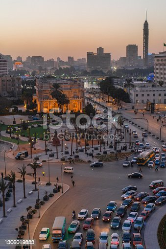 Tahrir Square in Cairo at sunset
