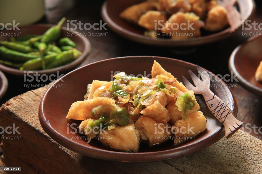 Tahu Gejrot, Street Food Dish of Fried Tofu with Sweet and Spicy Sauce from Cirebon, West Java royalty-free stock photo