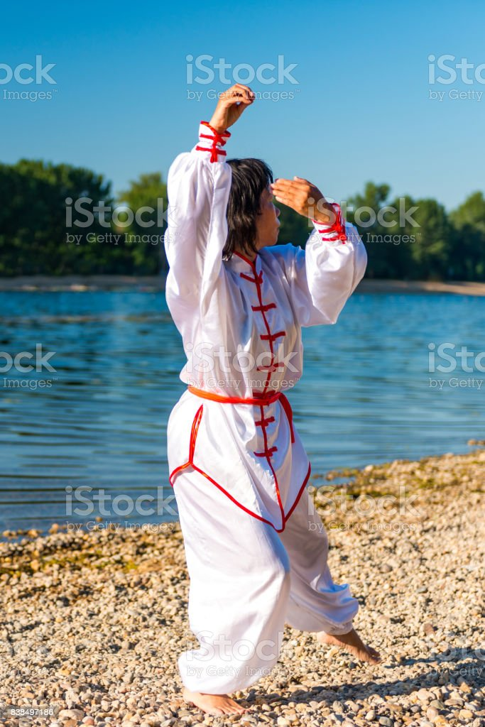 Tai Chi by the lake stock photo