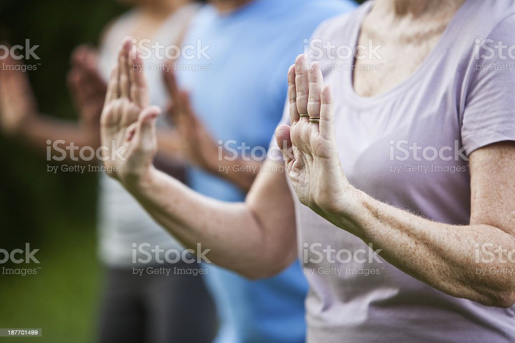 Tai chi class stock photo