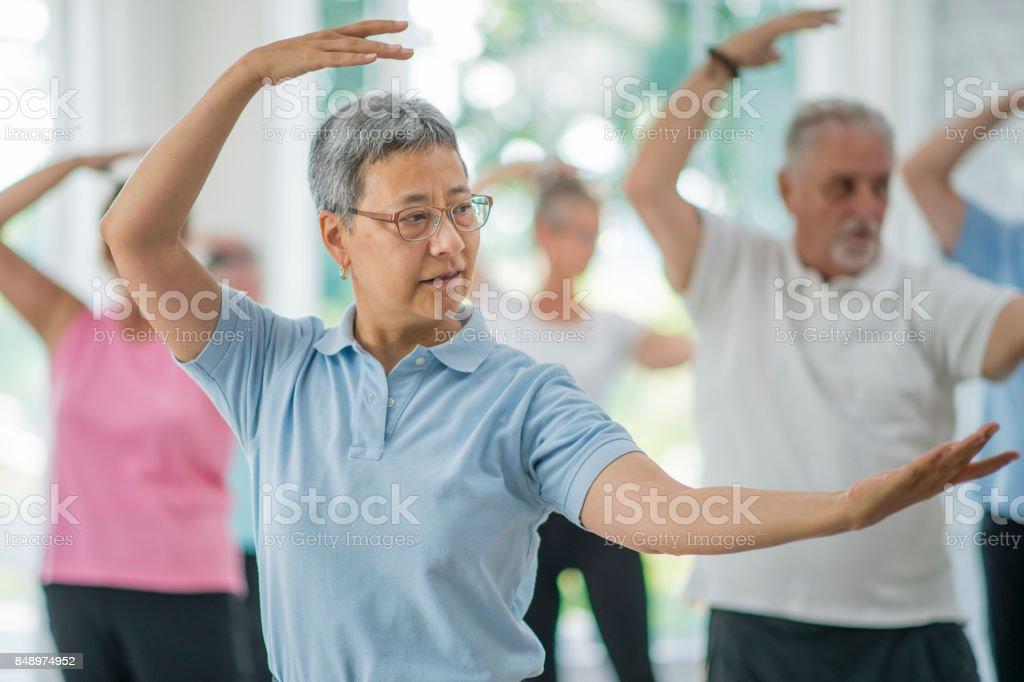 Tai Chi Class stock photo
