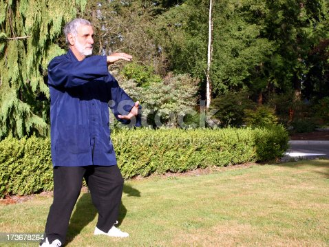 A tai chi master practices in the park.Please see some similar pictures from my portfolio: