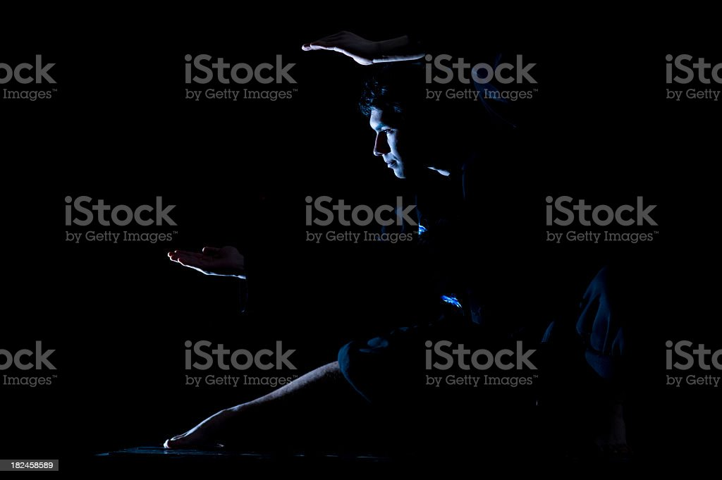 tai chi man against starry sky at night royalty-free stock photo