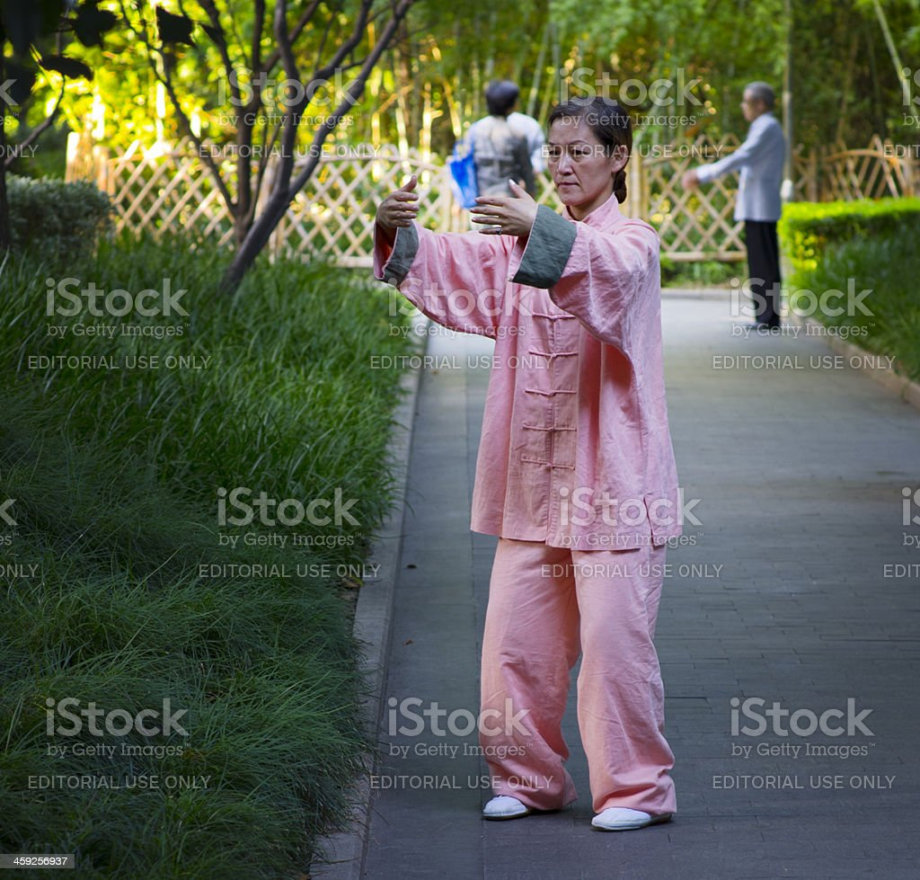 Tai Chi Woman Shanghai China royalty-free stock photo