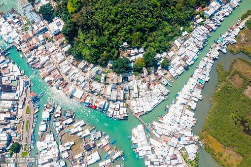 Tai o fishing village, Old floating house and sea in Hong Kong