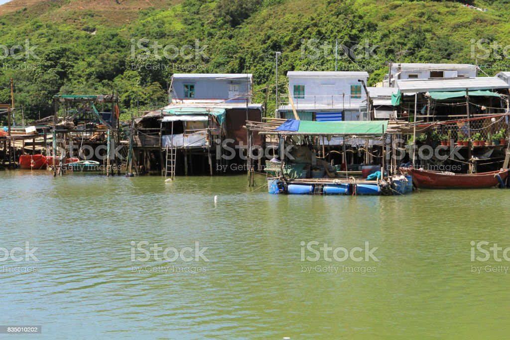 Tai O residents go about their daily lives stock photo