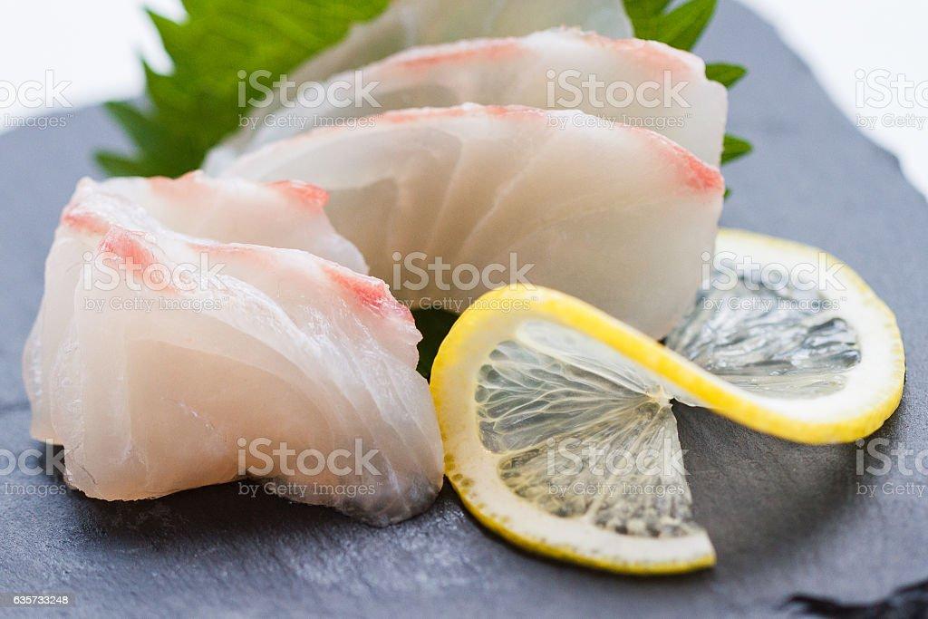 Tai Sashimi : Sliced Raw Tai (Red Seabeam Fish). stock photo