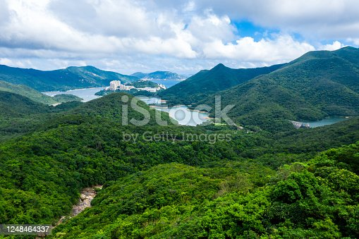 Dam of a Tai Tam reservoir in aerial